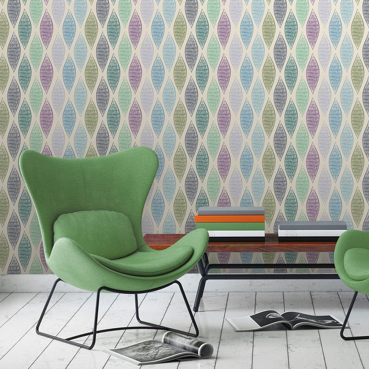 """Wandtapete flieder: Grüne moderne Designer Tapete """"Regenbogen Waben"""" mit bunten Farben angepasst an Farrow and Ball Wandfarben"""