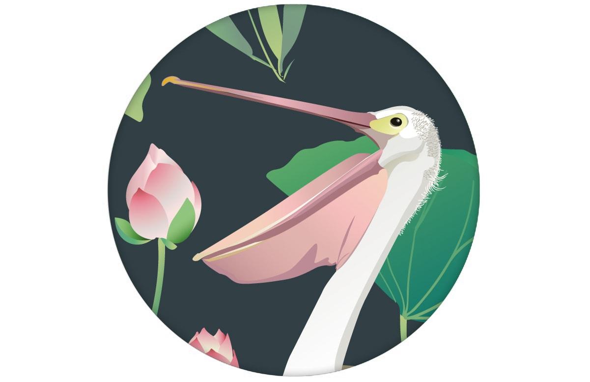 """Blaue Vogel Tapete """"Pelican Pond"""" mit Pelikanen und Seerosen Wandgestaltung"""