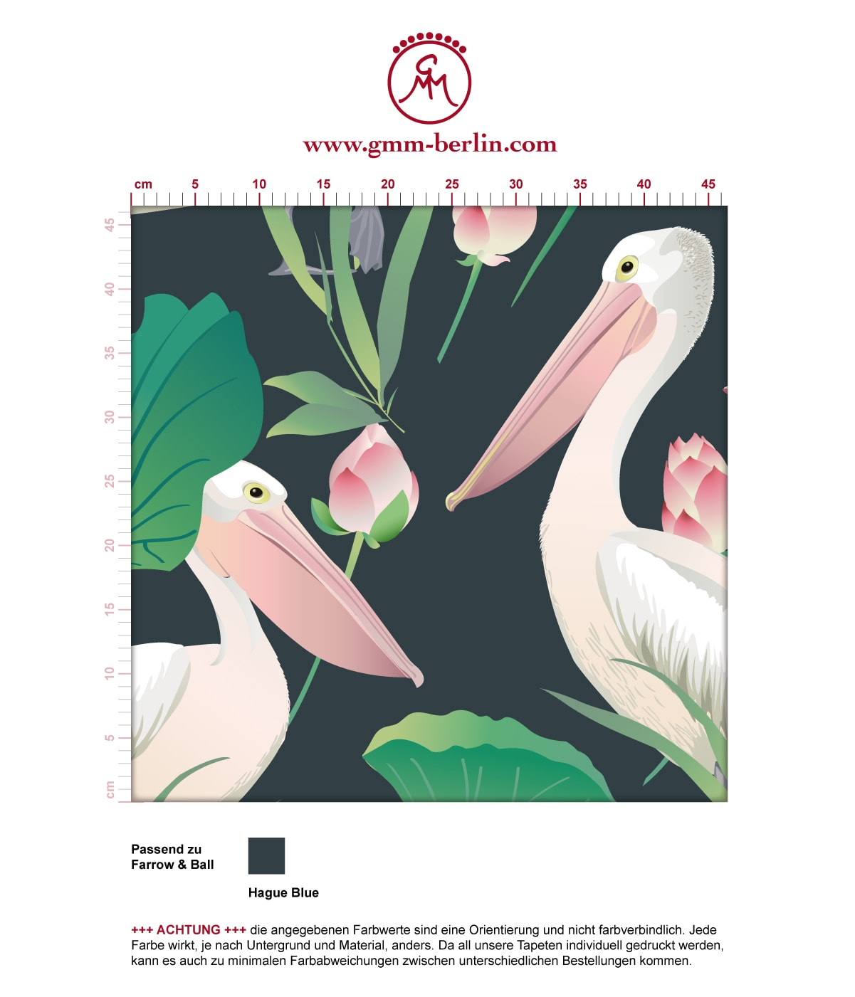 "Blaue Vogel Tapete ""Pelican Pond"" mit Pelikanen und Seerosen angepasst an Farrow and Ball Wandfarben 3"