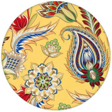 """Gelbe edle Design Tapete """"Classic Paisley"""" mit dekorativem Blatt Muster (klein) für Wohnzimmer"""