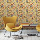 """Gelbe edle Designer Tapete """"Classic Paisley"""" mit dekorativem Blatt Muster (klein) angepasst an Schöner Wohnen Wandfarben"""