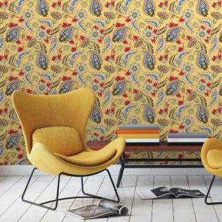"""Wandtapete gelb: Gelbe edle Designer Tapete """"Classic Paisley"""" mit dekorativem Blatt Muster (klein) angepasst an Schöner Wohnen Wandfarben"""