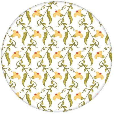 """Klassische florale Tapete """"Happy Peas"""" mit blühenden Erbsen Ranken (klein) für Küche Flur"""
