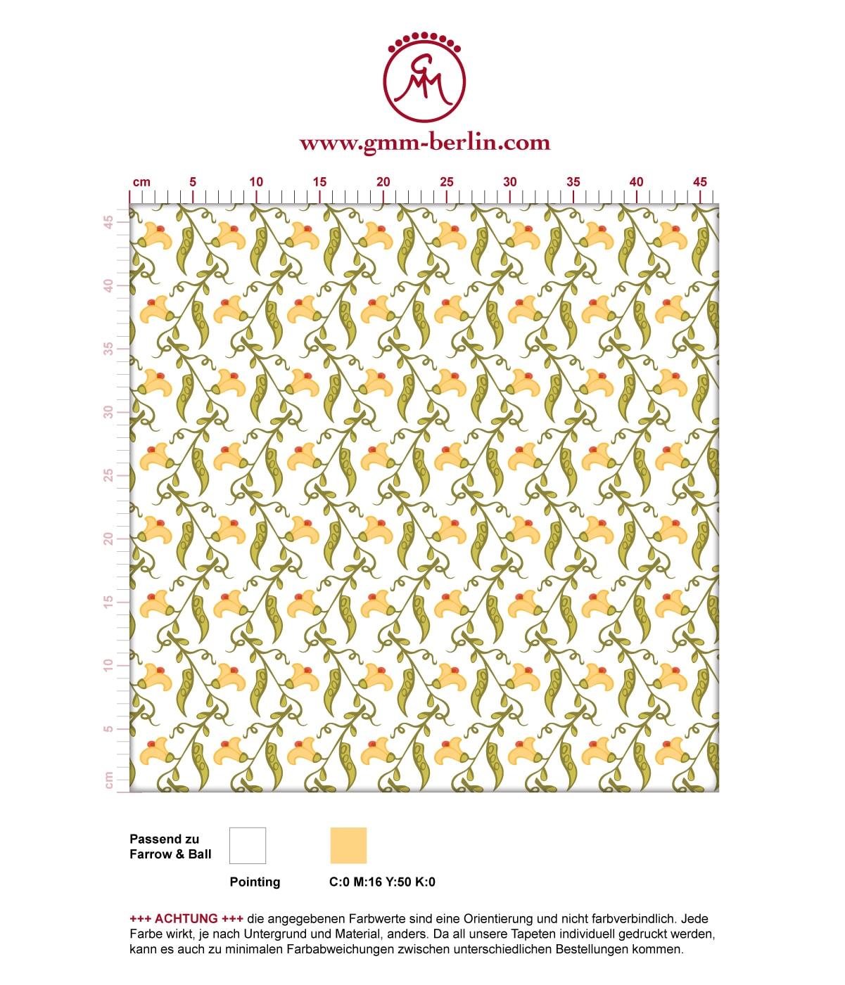 "Klassische frische Tapete ""Happy Peas"" mit blühenden Erbsen Ranken (klein) angepasst an Farrow and Ball Wandfarben 3"