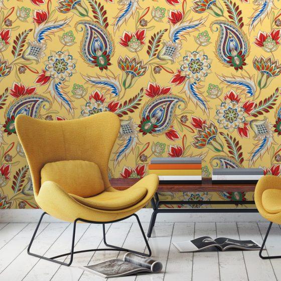 """Groß gemusterte gelbe Designer Tapete """"Classic Paisley"""" mit dekorativem Blatt Muster angepasst an Schöner Wohnen Wandfarben"""