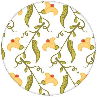 """Groß gemusterte klassisch florale Tapete """"Happy Peas"""" mit blühenden Erbsen Ranken für Küche Fluraus dem GMM-BERLIN.com Sortiment: weisse Tapete zur Raumgestaltung: #blueten #blumen #Erbse #Farrow and Ball #Gästezimmer #ranke #schlafen #weiss für individuelles Interiordesign"""