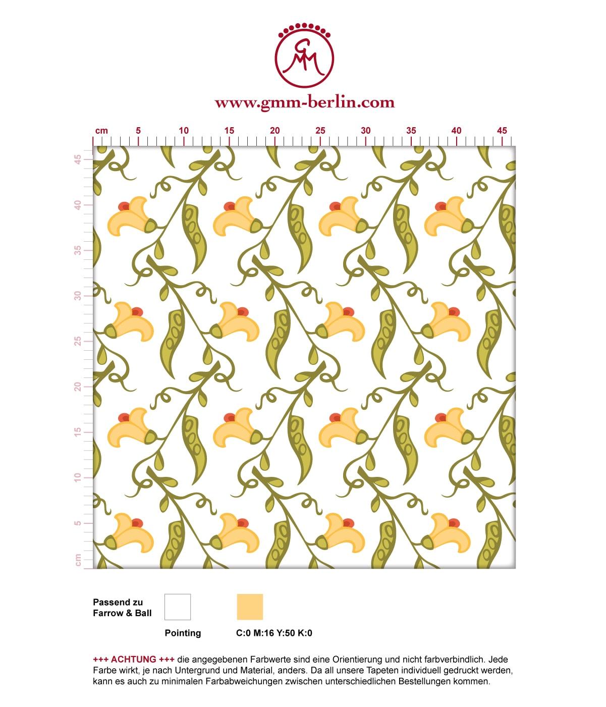 "Groß gemusterte klassisch frische Tapete ""Happy Peas"" mit blühenden Erbsen Ranken angepasst an Farrow and Ball Wandfarben. Aus dem GMM-BERLIN.com Sortiment: Schöne Tapeten in weiss"
