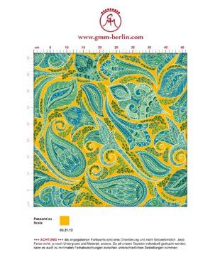 "Gelbe edle Designer Tapete ""Grand Paisley"" mit großem dekorativem Blatt Muster angepasst an Scala Wandfarben"