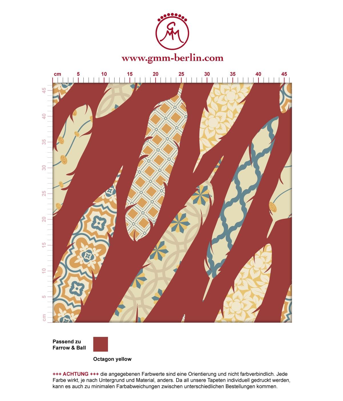 "Braune moderne Tapete ""Fancy Feathers"" mit dekorativem Feder Muster angepasst an Farrow and Ball Wandfarben 3"