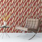 "Braune moderne Tapete ""Fancy Feathers"" mit dekorativem Feder Muster angepasst an Farrow and Ball Wandfarben"