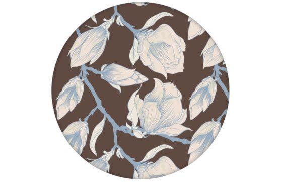 """Edle braun Blumen Tapete """"Blooming Magnolia"""" mit blühender Magnolie für Schlafzimmer"""