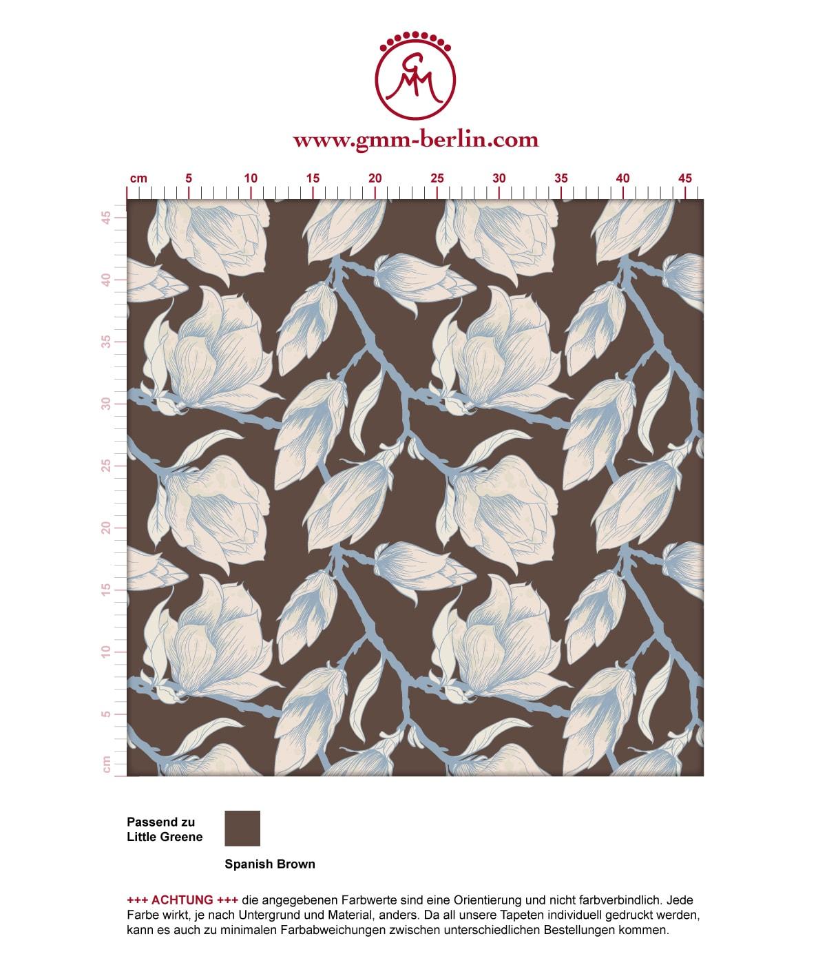 "Edle braun Blüten Tapete ""Blooming Magnolia"" mit blühender Magnolie angepasst an Little Greene Wandfarben"