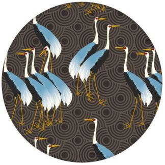 """Klassische Design Tapete """"Kraniche des Ibykus"""" mit asiatischen Kranichen in braun für Wohnzimmer aus den Tapeten Neuheiten Exklusive Tapete für schönes Wohnen als Naturaltouch Luxus Vliestapete oder Basic Vliestapete"""