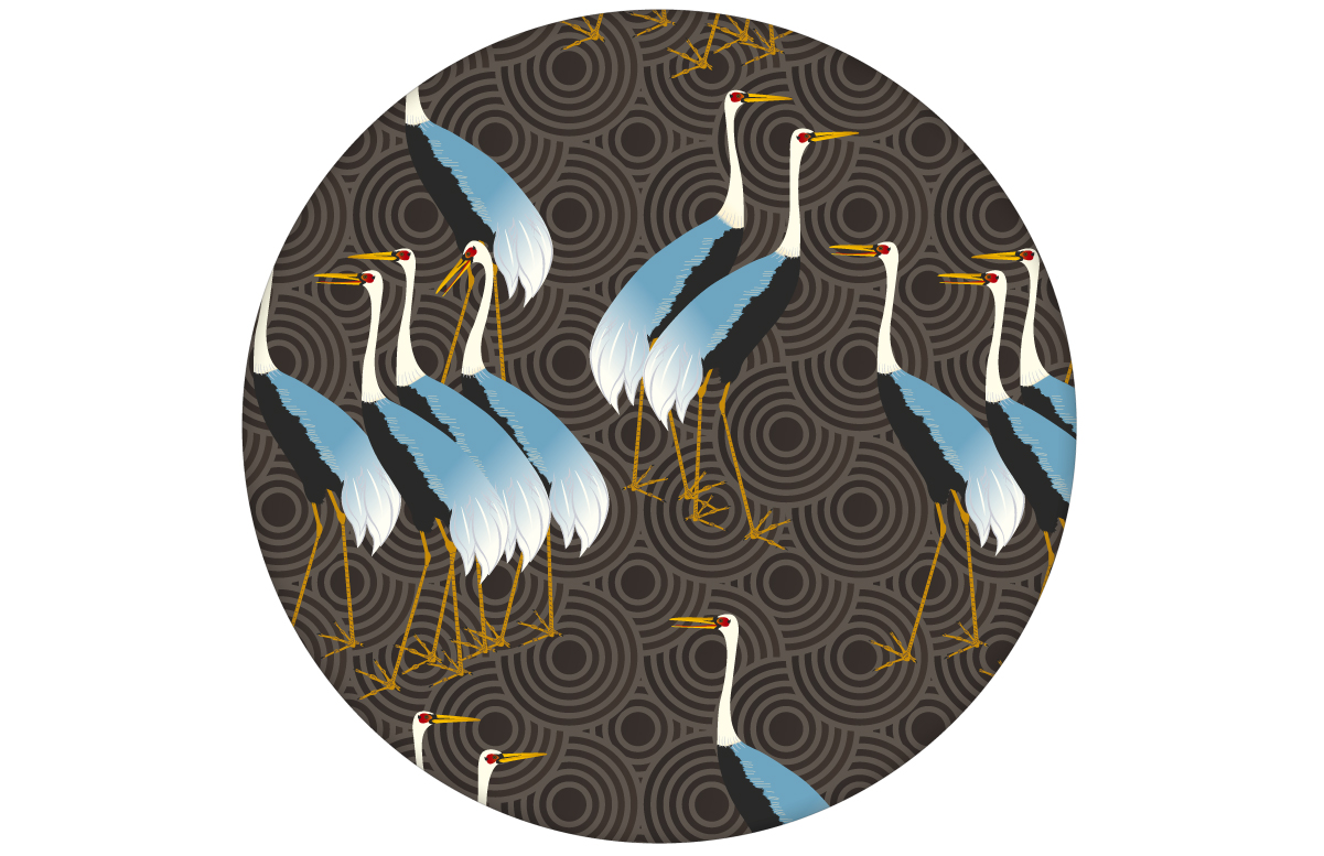 """Klassische Design Tapete """"Kraniche des Ibykus"""" mit asiatischen Kranichen in braun für Wohnzimmer"""