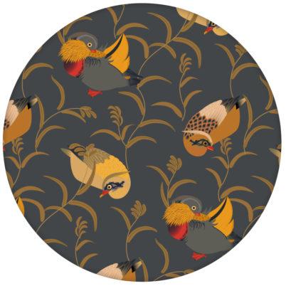 """Klassische Design Tapete """"Im Schlossteich"""" mit Enten im Schilf in grau für Schlafzimmer"""