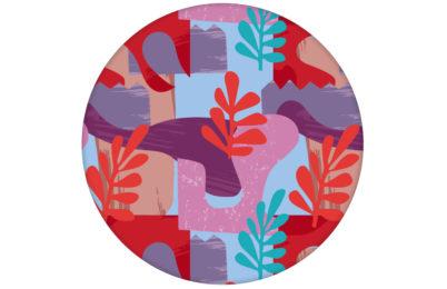 "Grafische Tapete ""Exotic Leaf"" im Retro Stil in rosa angepasst an Scala Wandfarben"