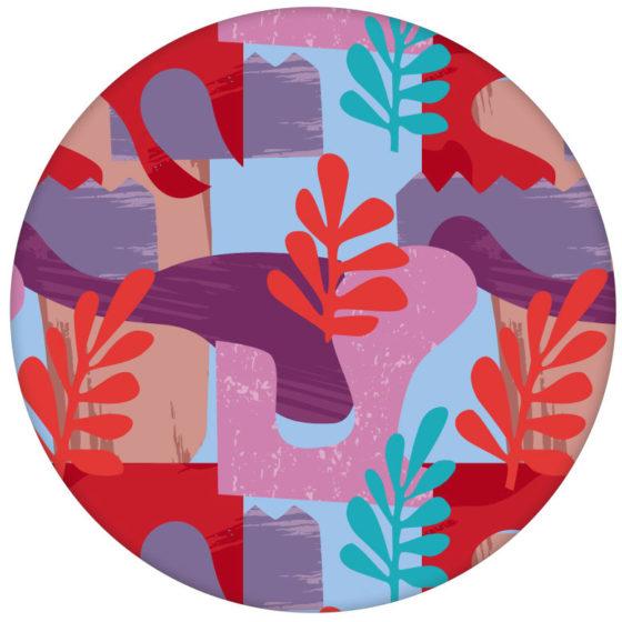 "Grafische Design Tapete ""Exotic Leaf"" im Retro Stil in rosa"