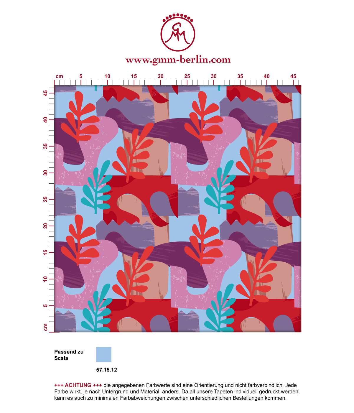 "Grafische Tapete ""Exotic Leaf"" im Retro Stil in rosa angepasst an Scala Wandfarben 3"