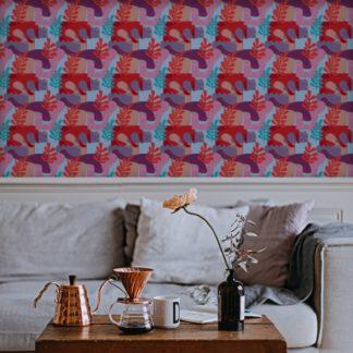"Wandtapete rot: Grafische Design Tapete ""Exotic Leaf"" im Retro Stil in rosa angepasst an Scala Wandfarben 2"