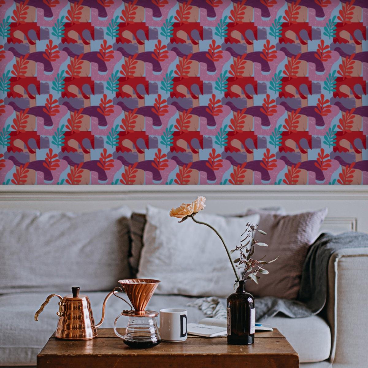 """Grafische Design Tapete """"Exotic Leaf"""" im Retro Stil in rosa angepasst an Scala Wandfarben 2"""