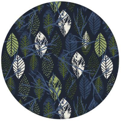 """Grafische Design Tapete """"Im Blätterwald"""" in dunkelblau Vliestapete"""