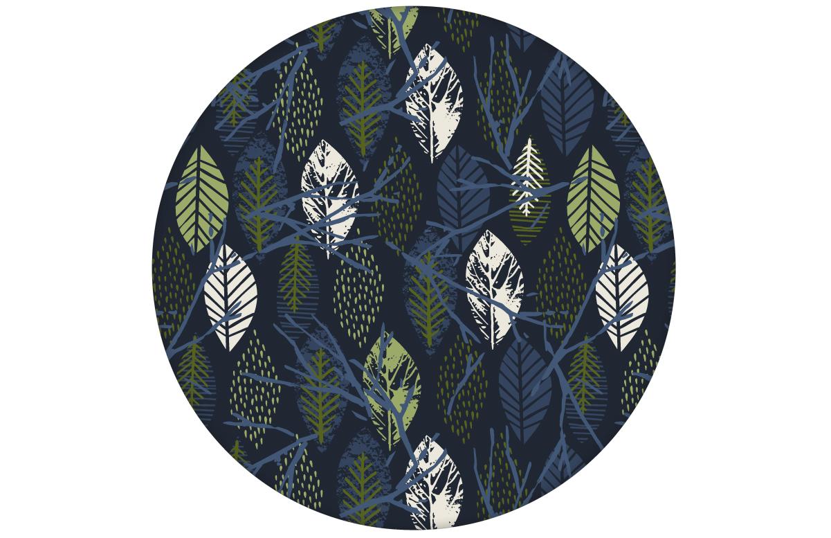 """Grafische Design Tapete """"Im Blätterwald"""" in dunkelblau Vliestapeteaus dem GMM-BERLIN.com Sortiment: blaue Tapete zur Raumgestaltung: #Blätter #modern #Natur #tapete für individuelles Interiordesign"""
