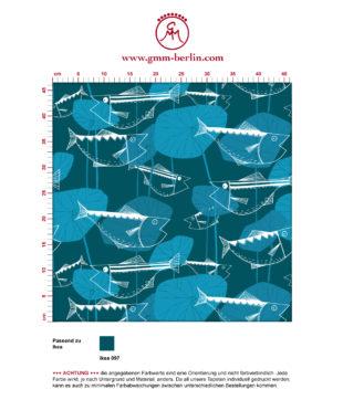 "Retro Fisch Tapete ""Angler Glück"" im Stil der 70er in petrol angepasst an Ikea Wandfarben"