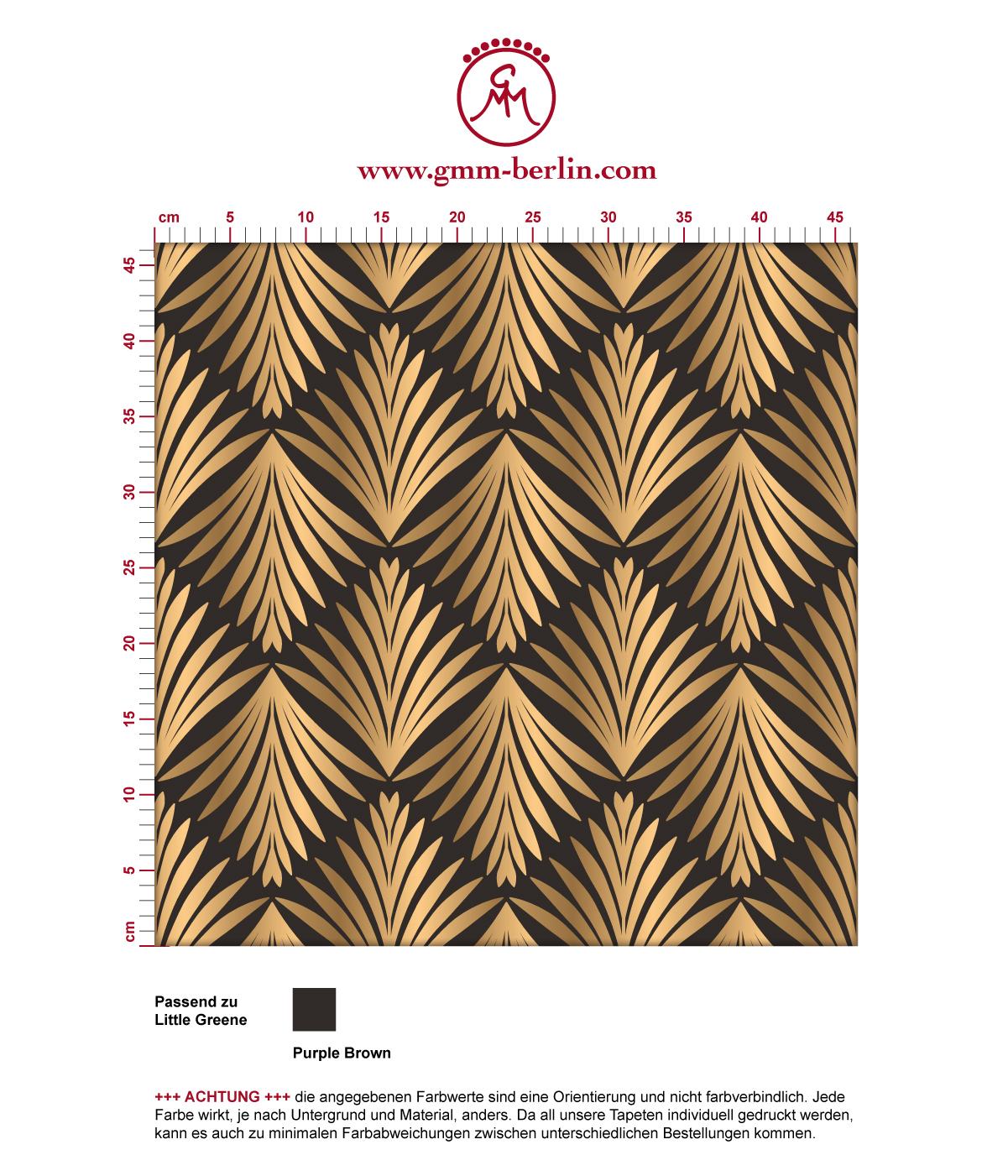 "klassische Tapete ""Art Deco Akanthus"" mit Blatt Muster in braun angepasst an Little Greene Wandfarben"