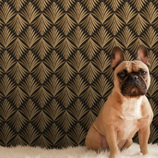 "Wandtapete gelb: klassische Ornament Tapete ""Art Deco Akanthus"" mit Blatt Muster in braun angepasst an Little Greene Wandfarben 2"