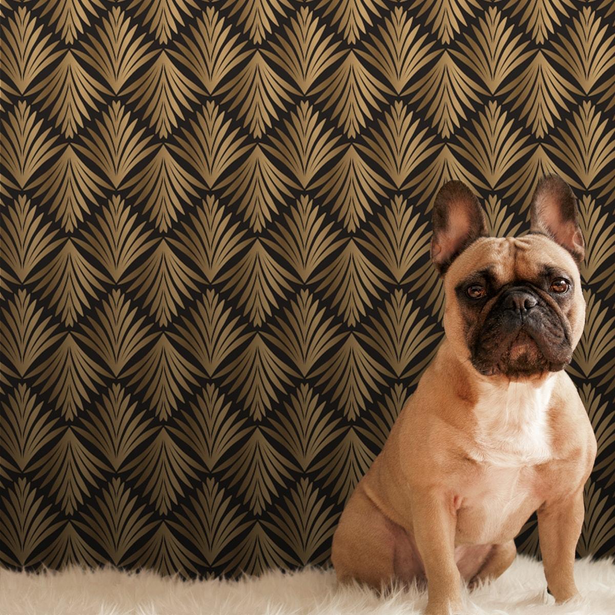 Wandtapete gelb: klassische Ornament Tapete