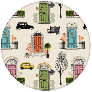 """lustige Retro Design Tapete """"Belgravia"""" mit Londoner Türen, Mini und Cabs in buntaus dem GMM-BERLIN.com Sortiment: beige Tapete zur Raumgestaltung: #Auto #bunt #FarrowandBall #Grafik #London #tapete für individuelles Interiordesign"""
