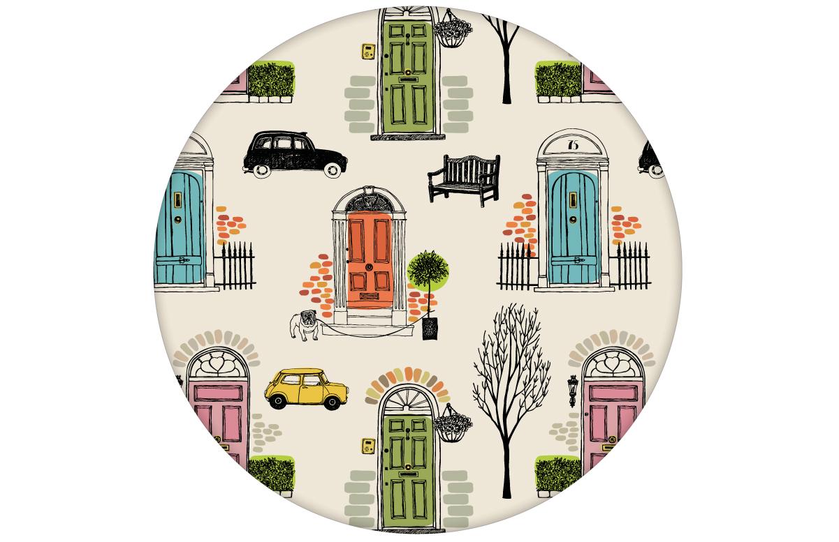 """lustige Retro Design Tapete """"Belgravia"""" mit Londoner Türen, Mini und Cabs in bunt"""