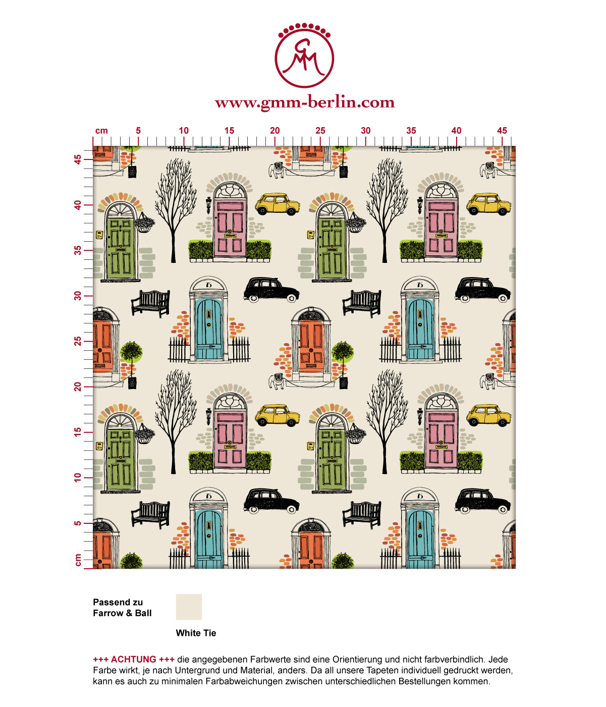 "lustige Tapete ""Belgravia"" mit Londoner Türen, Mini und Cabs in bunt angepasst an Farrow and Ball Wandfarben 3"