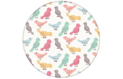 """lustige Tapete """"Alle Vöglein"""" mit einem Schwarm bunter Vögel bunt angepasst an Farrow and Ball Wandfarben"""