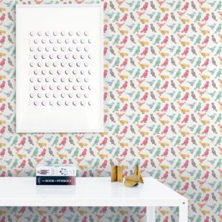 """Wandtapete weiss: lustige Design Tapete """"Alle Vöglein"""" mit bunten Vögeln Wandgestaltung"""