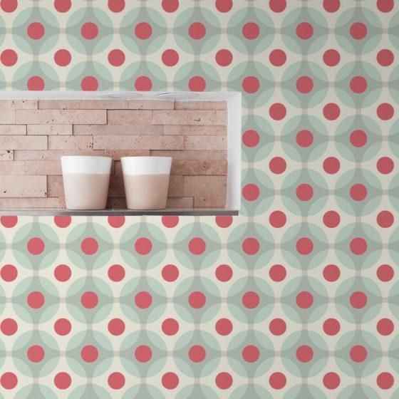 """Moderne Retro Tapete """"Flower Dots"""" mit großen Punkten in türkis angepasst an Farrow and Ball Wandfarben"""