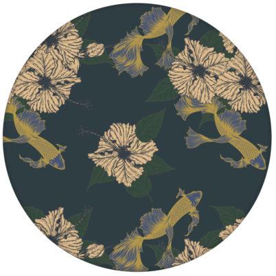"""Elegante Fisch Tapete """"Le jardin japonais"""" mit Blick auf Koi Karpfen, blaue Wandgestaltung"""