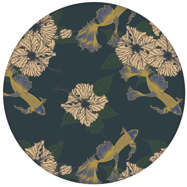 """Elegante Fisch Tapete """"Le jardin japonais"""" mit Blick auf Koi Karpfen, blaue Wandgestaltung aus den Tapeten Neuheiten Exklusive Tapete für schönes Wohnen als Naturaltouch Luxus Vliestapete oder Basic Vliestapete"""