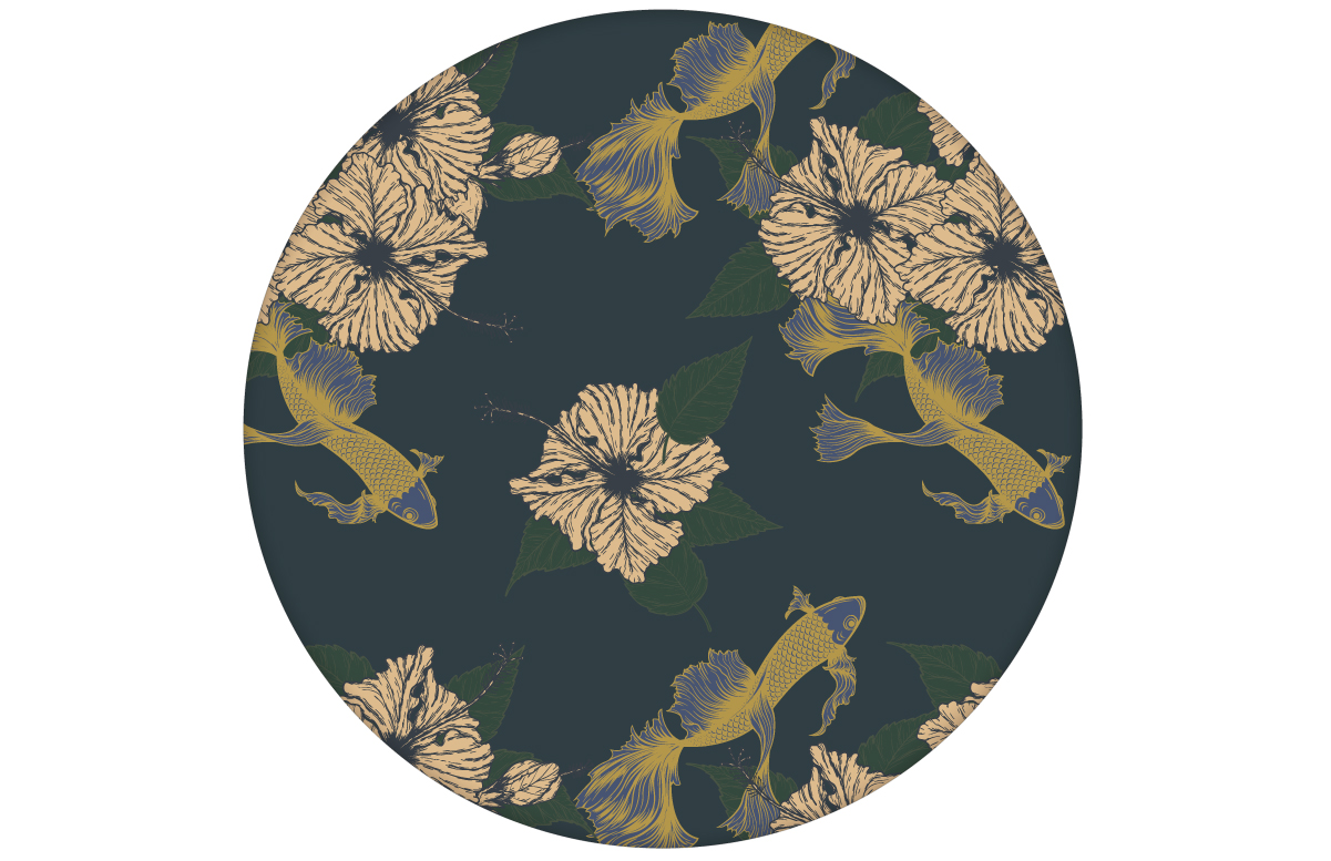 """Elegante Tapete """"Le jardin japonais"""" mit beruhigendem Blick auf den Koi Karpfen Teich in blau angepasst an Farrow & Ball Wandfarben"""