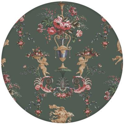 """Feine Tapete """"In Elysium"""" mit Rosen und Putti historische Wandgestaltungaus dem GMM-BERLIN.com Sortiment: grüne Tapete zur Raumgestaltung: #gruen für individuelles Interiordesign"""