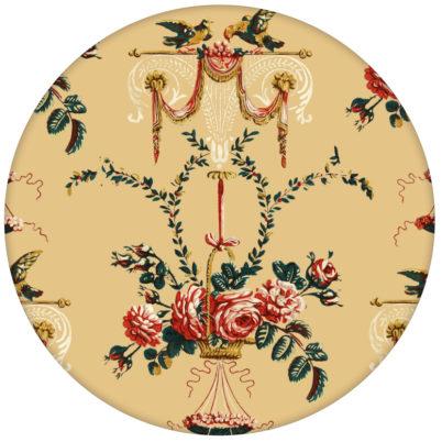 """Elegante Ornament Tapete """"Pure Rococo"""" mit Rosen, Tauben und Blumen Kränzen gelb"""