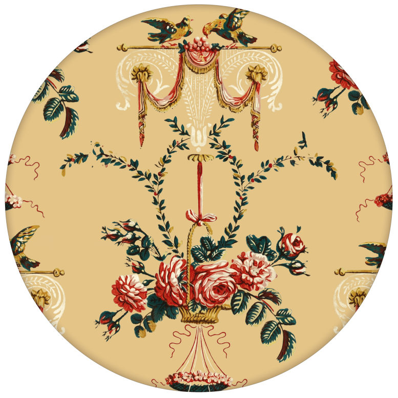 """Elegante Ornament Tapete """"Pure Rococo"""" mit Rosen, Tauben und Blumen Kränzen gelb aus den Tapeten Neuheiten Blumentapeten und Borten als Naturaltouch Luxus Vliestapete oder Basic Vliestapete"""