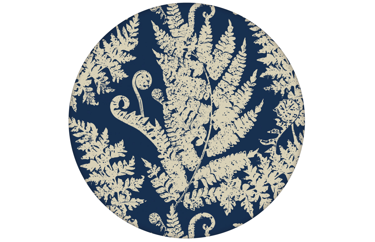 "Traumhafte Tapete ""Heidis Fernerie"" mit großem Farn Muster in blau"