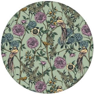 """Üppige florale Tapete """"Victorias Treasure"""" mit Paradies Vögeln und Blumen im victorianischen Stil, Wandgestaltung grünaus dem GMM-BERLIN.com Sortiment: lila Tapete zur Raumgestaltung: #gruen #Little Greene für individuelles Interiordesign"""