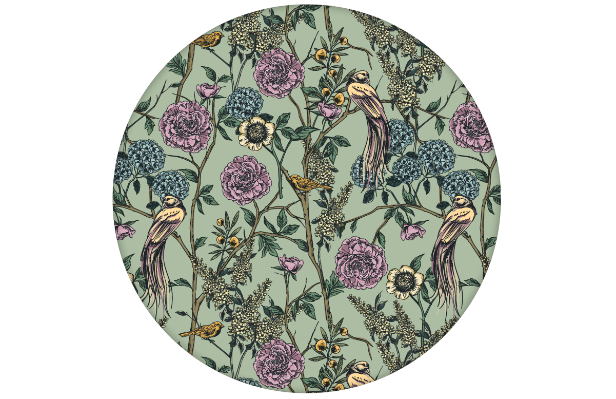 """Üppige florale Tapete """"Victorias Treasure"""" mit Paradies Vögeln und Blumen im victorianischen Stil in grün angepasst an Little Greene Wandfarben"""