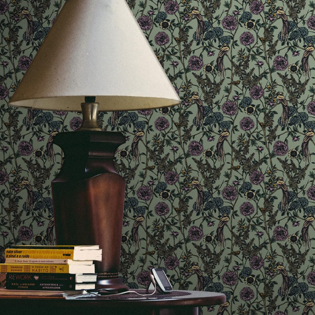 """Üppige florale Tapete """"Victorias Treasure"""" mit Paradies Vögeln und Blumen für Wohnzimmer Schlafzimmer"""