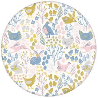 """Fröhliche Land Vlies Tapete """"Hoppelgarten"""" mit bunten Hühnern, Hasen und Blumen in Farbe 1"""
