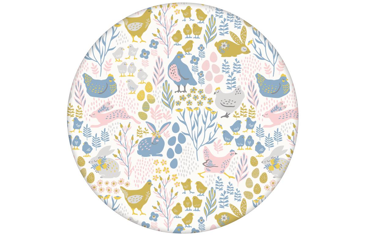 """Fröhliche Land Tapete """"Hoppelgarten"""" mit bunten Hühnern, Hasen und Blumen in Farbe 1 angepasst an Farrow & Ball Wandfarben"""