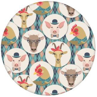 """Lustige moderne Tapete """"Funny Portrait Gallery"""" mit eleganten Schweinen, Ziegen und Kühen auf Schotten Karo, Wandgestaltung hellblau"""