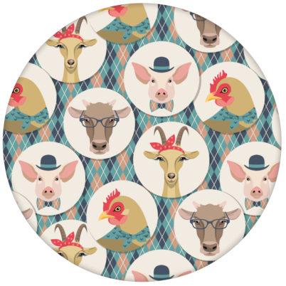 """Lustige moderne Tapete """"Funny Portrait Gallery"""" mit eleganten Schweinen, Ziegen und Kühen auf Schotten Karo, Wandgestaltung hellblauaus dem GMM-BERLIN.com Sortiment: rosa Tapete zur Raumgestaltung: #hellblau für individuelles Interiordesign"""